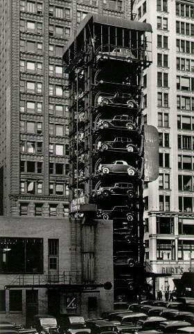 Elevator garage with parking lot john gutmann 1936 for Parking garage in nyc