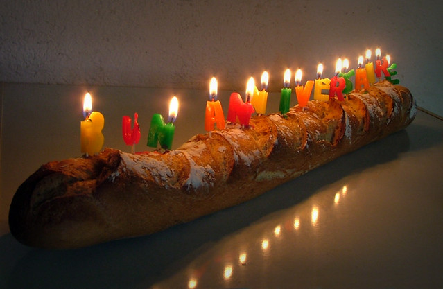 Birthday Bread Candles On A Baguette That Spell Out