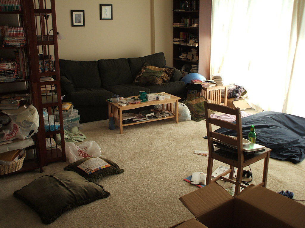 Messy apartment another living room shot sugawine flickr for Living room designs for bachelors