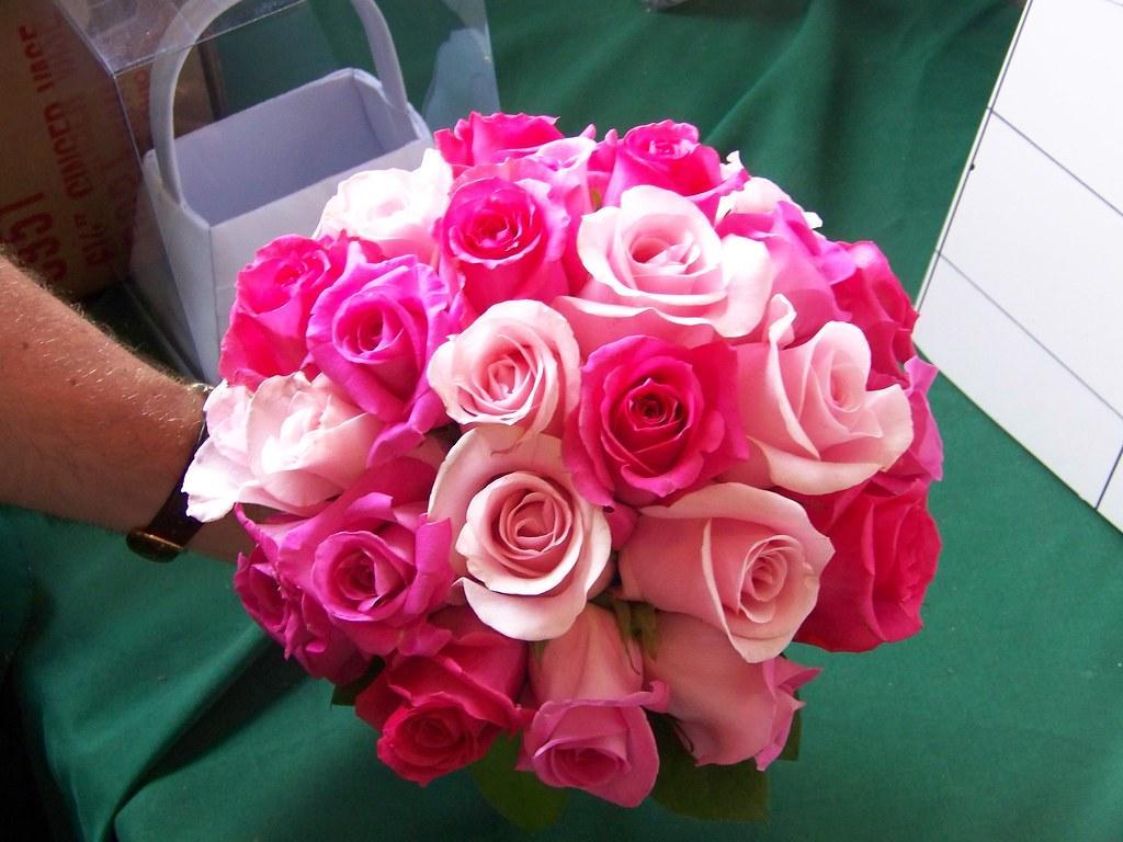 bridal bouquet this beautiful all rose bouquet mixes hot p flickr. Black Bedroom Furniture Sets. Home Design Ideas