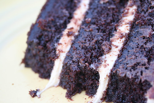 Sour Cream-Chocolate Cake with Peanut Butter Frosting and Chocolate-Peanut Butter Glaze | by Food Librarian