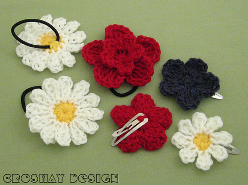 crocheted hair accessories Hair clips and ponytail holders ...