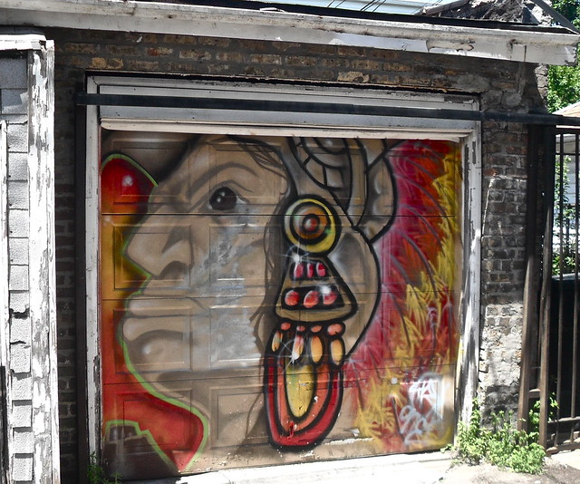 Aztec warrior civilian garage mural flickr photo sharing for Aztec mural painting