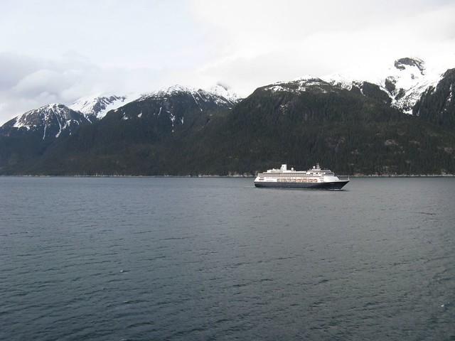 lynn canal alaska passing the holland america ship