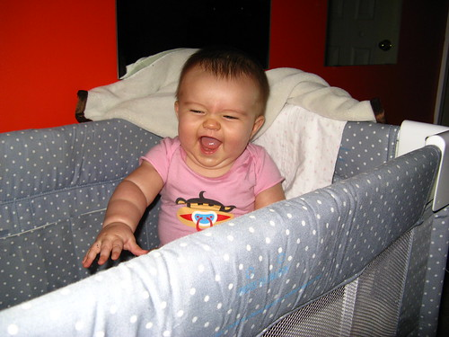 Lily laughs in the bassinet | by bikesandwich