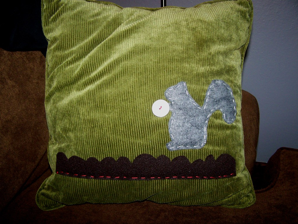 squirrel pillow Dressed another pillow up for the porch sw? Flickr