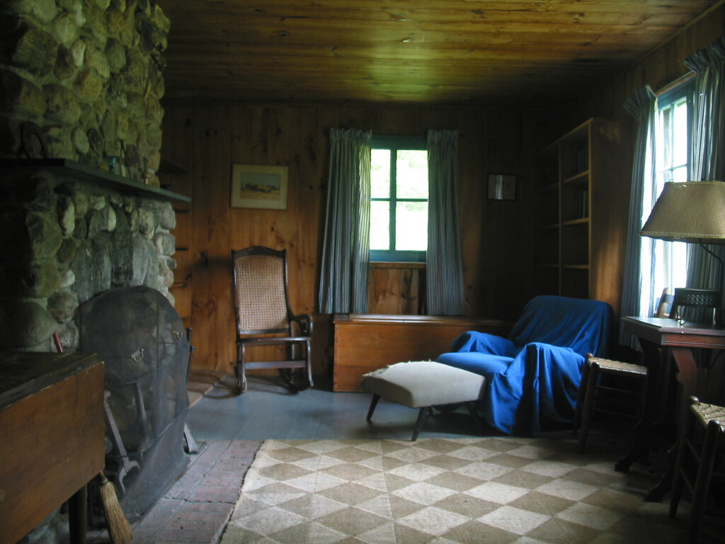robert frost cabin interior ripton vermont usa � from