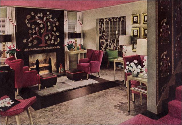 Home Decorating With Modern Art: 1943 World War II Era Modern Living Room