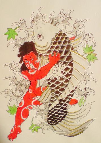Traditional japanese tattoo flash kintaro and koi flickr for Japanese tattoo flash