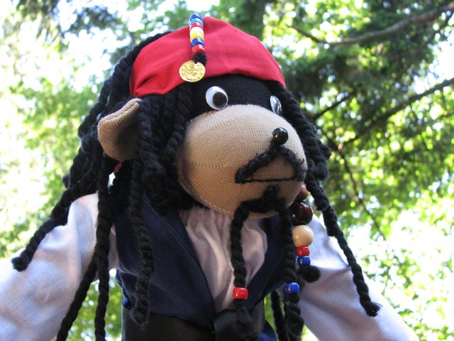"Pirate Sock Monkey ""Capt. Jack Sparrow"" 