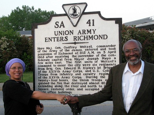 Abayomi Azikiwe, editor of the Pan-African News Wire, with Virginia historian and artist,  Ana Edwards, at the marker in recognition of the African troops who liberated Richmond from the confederacy in April 1865. (Photo: Phil Wilayto) | by Pan-African News Wire File Photos