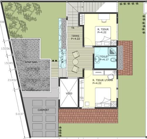 Gambar Denah Rumah, Desain Rumah/Villa Munggil Denah Lanta