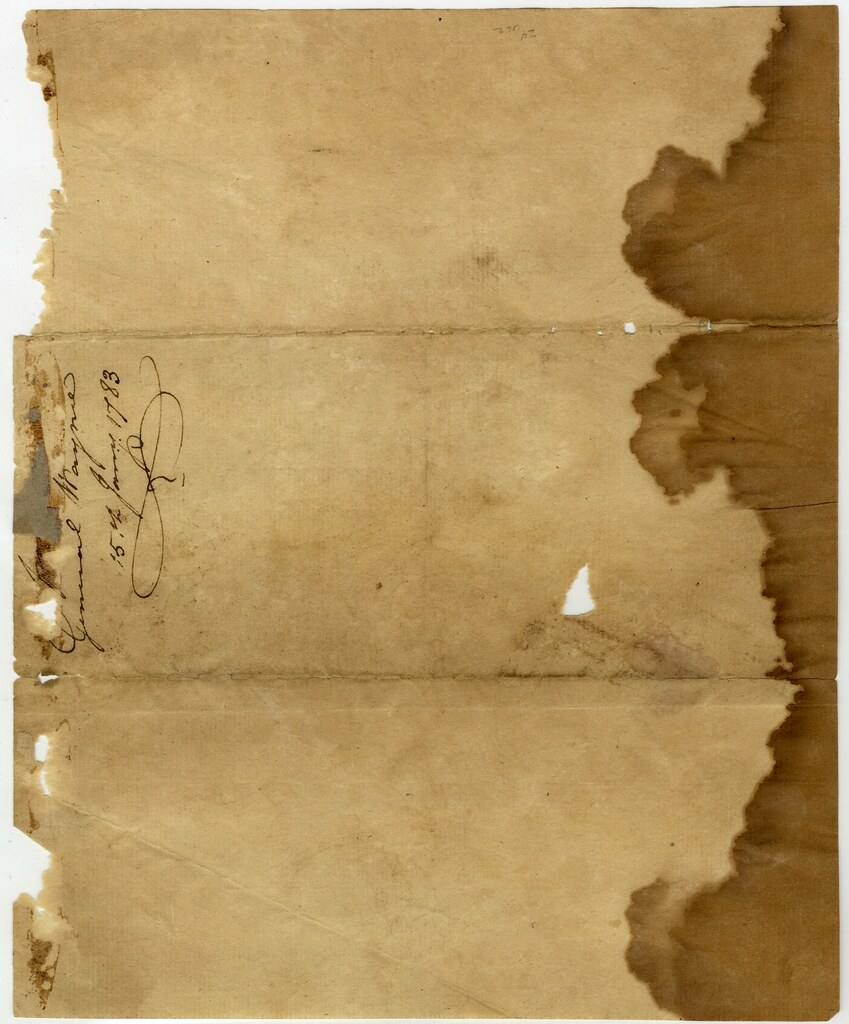 Cover Of Letter From Anthony Wayne To Mordecai Gist Page