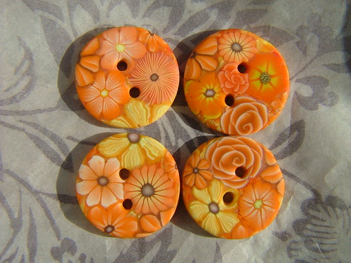 orange buttons | by polymerclaycreations