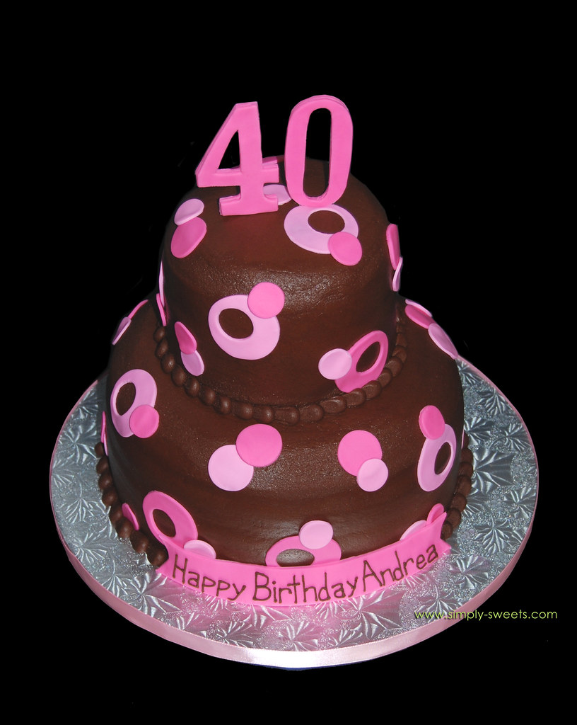 Pink and Brown Sassy Circles 40th Birthday cake Read ...