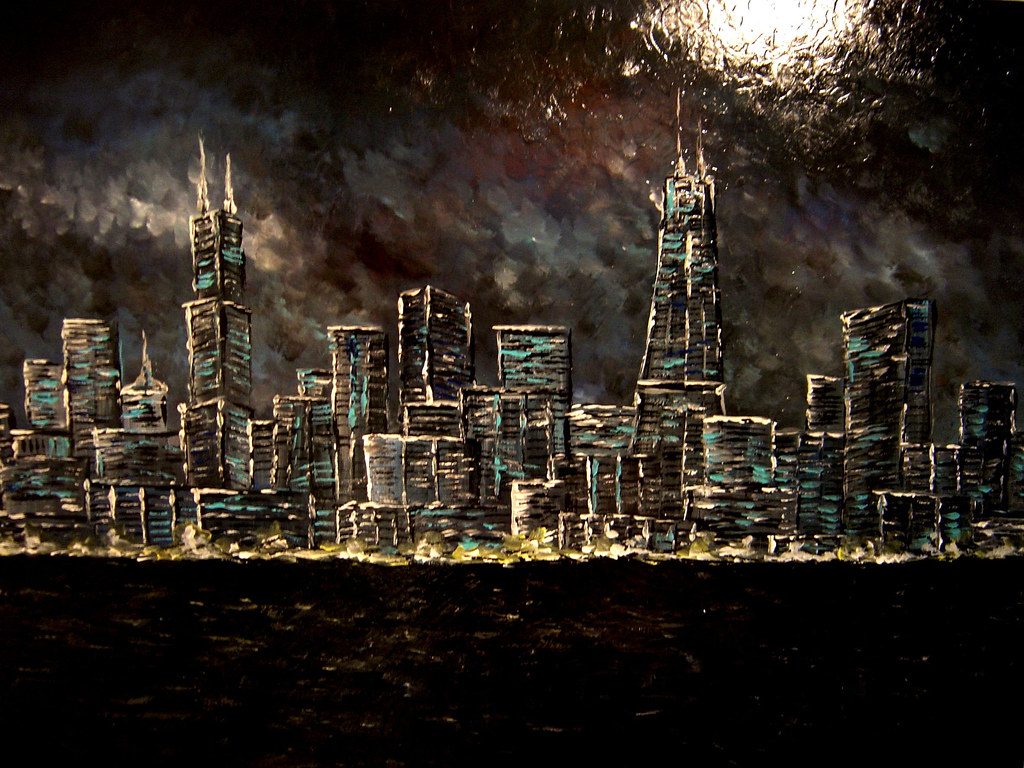 Chicago painting 48x36 chicago city painting 48 x36 for Chicago mural artist
