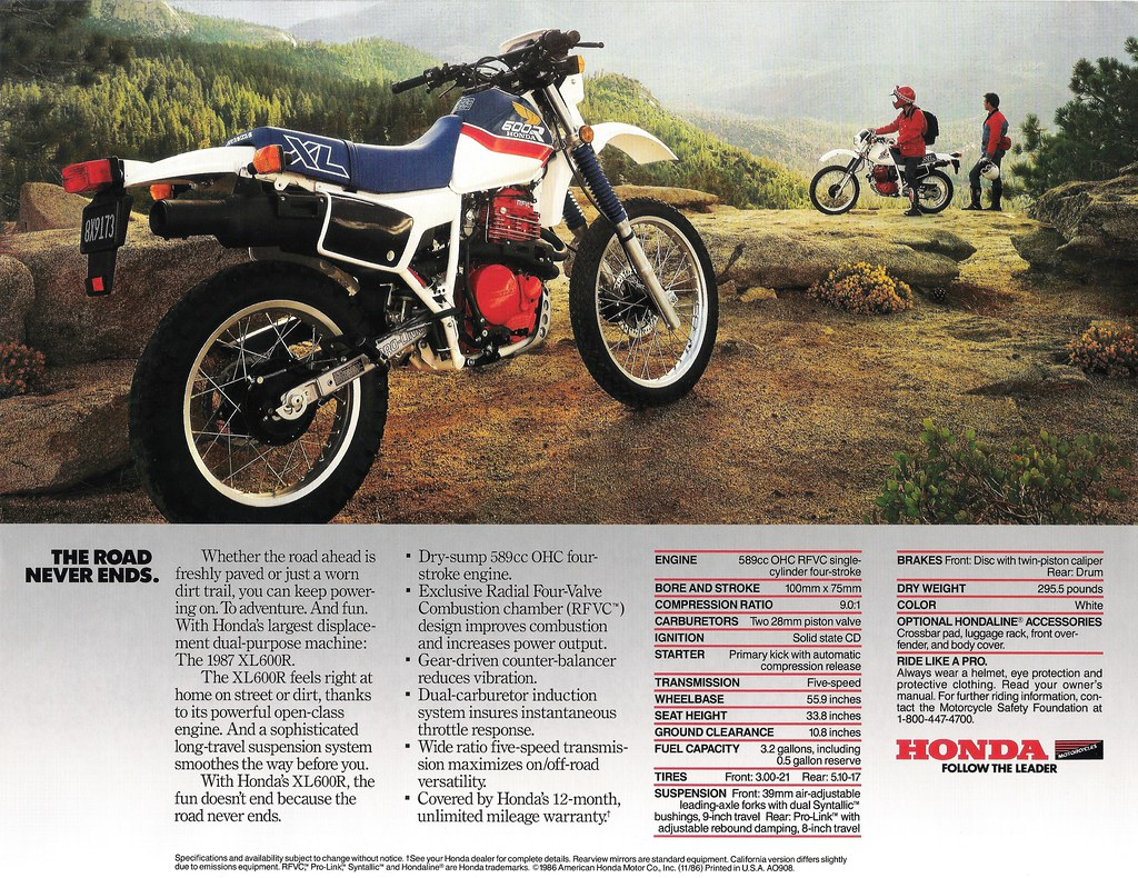 1987 honda xl600r brochure back