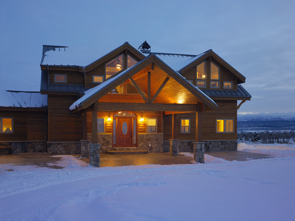 Entry of a custom lindal cedar home in colorado the for Lindal log cabin homes
