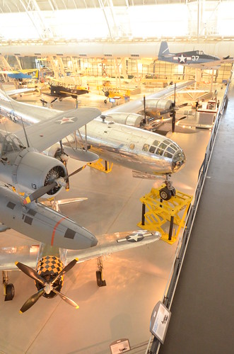 Steven F. Udvar-Hazy Center: South hangar panorama, including Vought OS2U-3 Kingfisher seaplane, B-29 Enola Gay | by Chris Devers