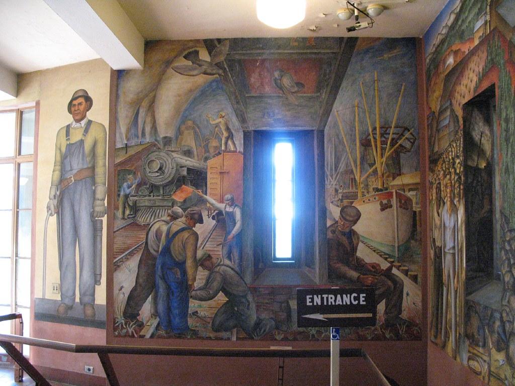 Coit tower wpa mural gary stevens flickr for Coit tower mural