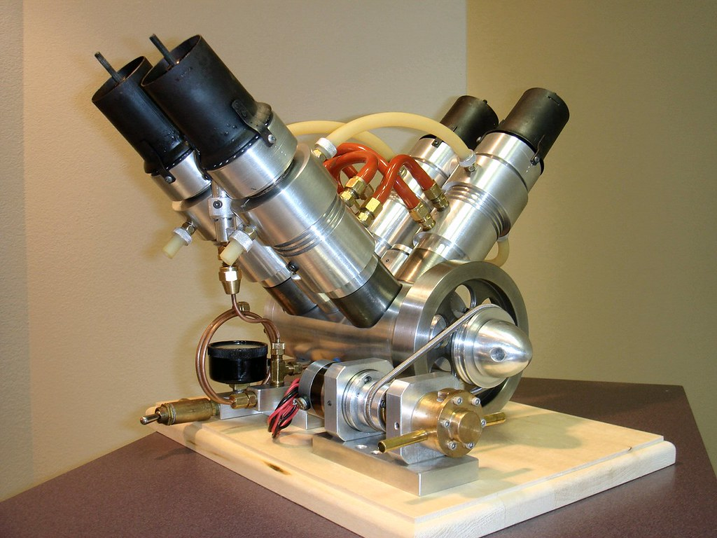 V4 Stirling Cycle Engine Designed And Built By Alphonse C