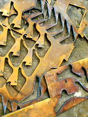 Metal cut-outs beside Bristol dock warehouses | by crabchick