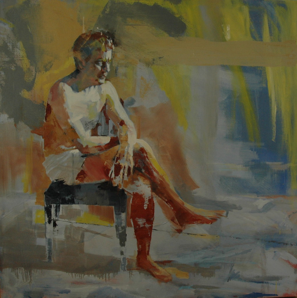 seated figure no 9 36quot x 36quot oil on canvas mark