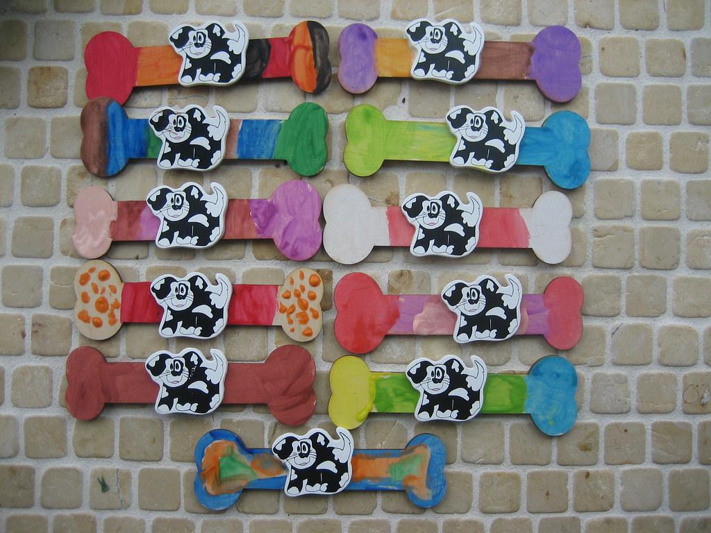 Dog bone magnet craft puppy dog theme birthday party for Dog bone ornaments craft