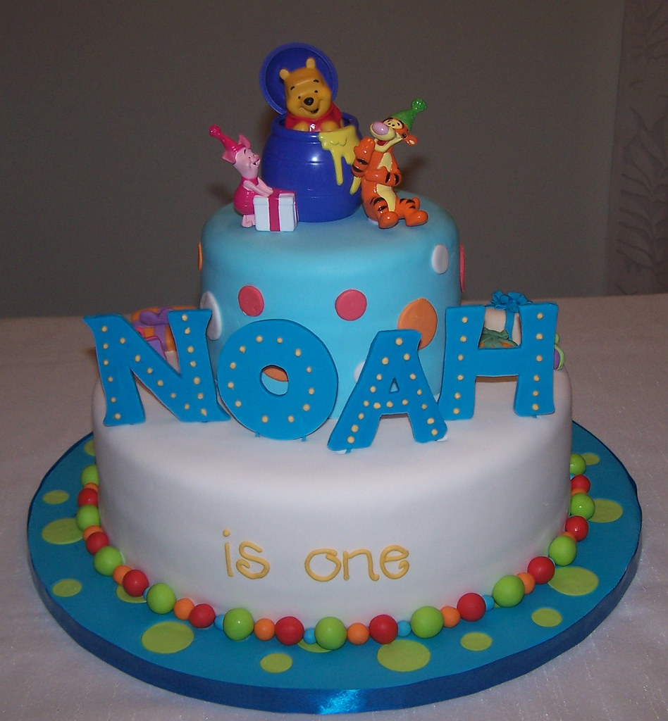 winnie the pooh first birthday cake cake topper is a toy. Black Bedroom Furniture Sets. Home Design Ideas