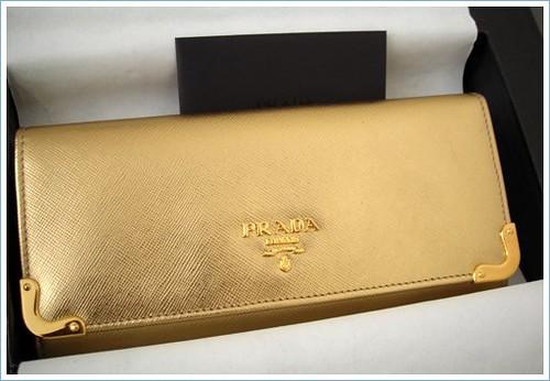 Prada Gold Saffiano Long Wallet | Flickr - Photo Sharing!