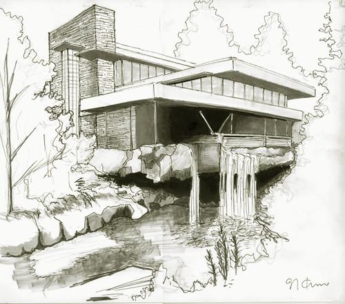 Fallingwater house from my school work marker - La maison sur la cascade ...