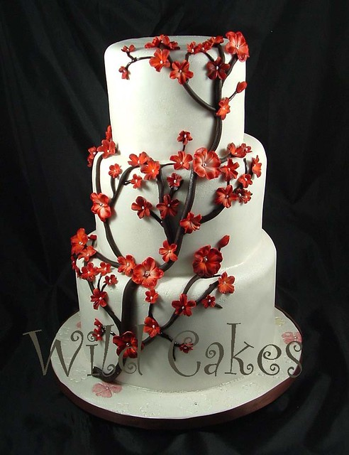 red cherry blossom wedding cake | www.wildcakes.ca | Wild ...