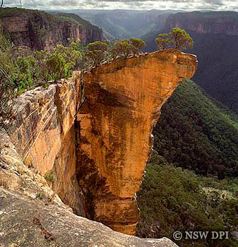 Hanging Rock In Sheer Sandstone Cliffs Blue Mountains NSW