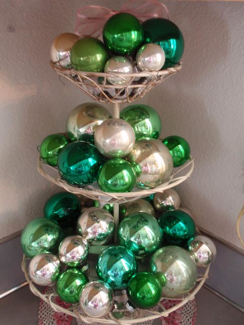 7 - Green And Silver Christmas Decorations