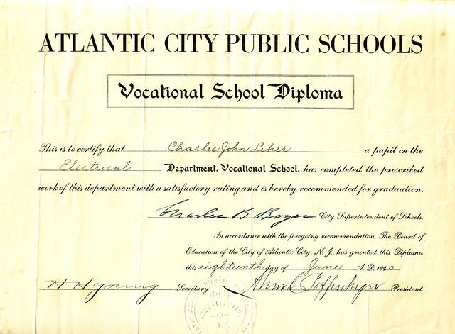 Cholly's Vocational School Diploma 1920.jpg | Bonar History | Flickr