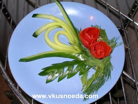 cucumber and tomato garnish | fruit carving and vegetable ...