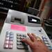 cash register hand - stock