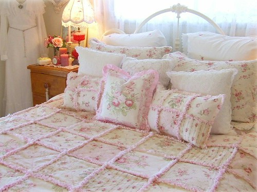 Shabby Chic Cottage Pillows : shabby chic quilt + pillows VivienneBlush Flickr