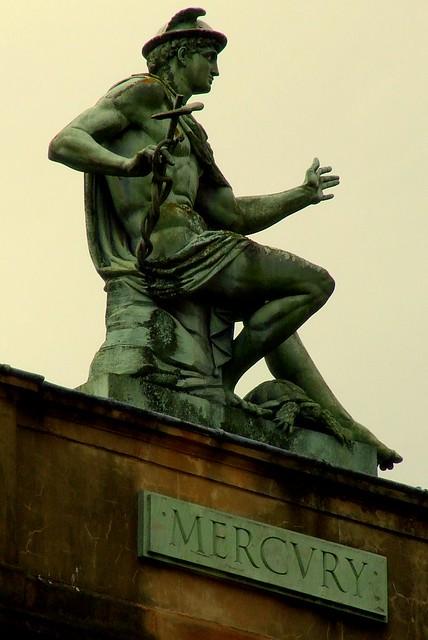 Mercury | The Roman god Mercury sitting high above John ...