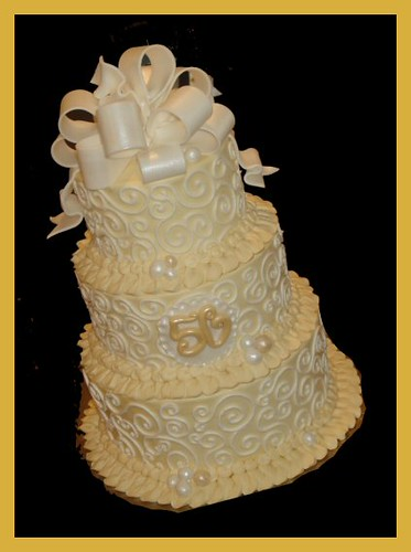 50th wedding anniversary cake atasteofwhimsy flickr - Th anniversary cake decorations ...