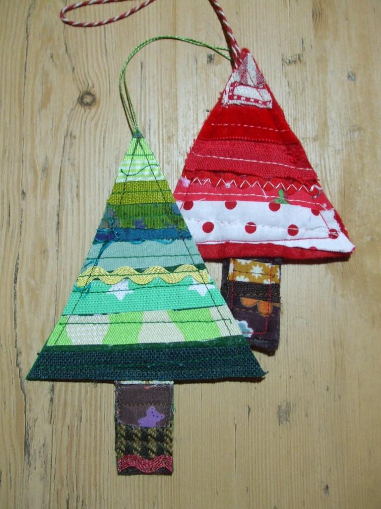 Christmas Tree Hanging Decorations | fabrics strips sewn ...