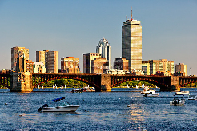 Cambridge View Of Boston Across Charles River Its