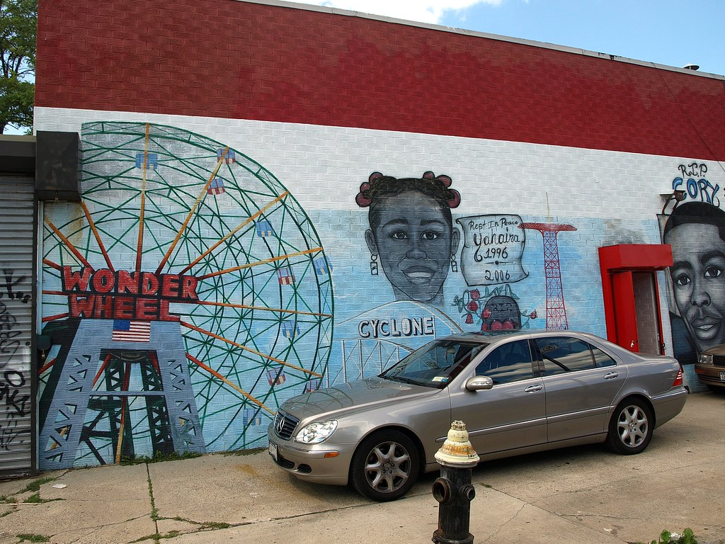 Coney island mural at carousel auto body shop brooklyn ne for Coney island mural