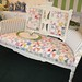 Quilt upholstered Victorian Eastlake loveseat