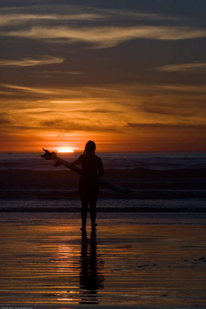 Surfer Girl In Silhouette Standing With Her Surf Board Wh
