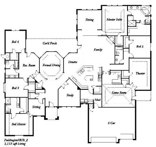 Manchester homes the paddington 5 bedroom floor plan for Five room house plan