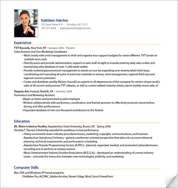 Photo Resume Templates Professional Cv Formats: Professional Resume Sample From ResumeBear.com