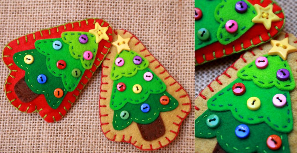 Broches arbol navidad fieltro y botones para pedidos o - Arbol de navidad de fieltro ...
