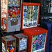 Catholic saint figurines and stickers in vending machines