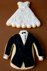 Close-up of Tux & Gown Cookies | by Mad Baker